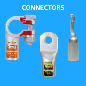 Connectors for batteries and battery cable including lugs and terminals