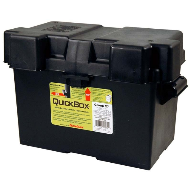 Plastic Battery Box fits one Group Size 27, 120172, Made in USA. Perfect for marine, commercial, stand-by, industrial and agricultural vehicles and equipment.