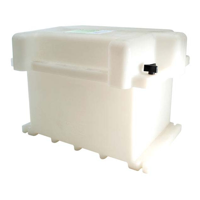 Plastic Battery Box fits two Group Size GC2 (Golf Cart) Batteries. It is white, in color, and Made in the USA.