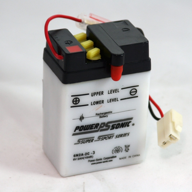 6N2A-2C-3 6 Volt 2 Ah Power Sports Battery with Battery Acid and Free Shipping