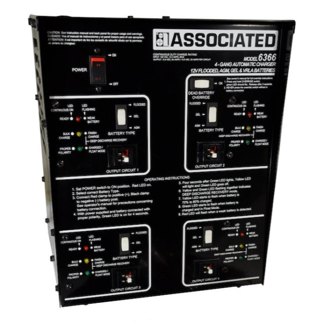 Associated Equipment Model 6366 Multiple Battery, 4-Gang Automatic Battery Charger