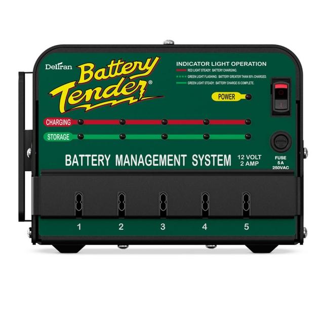 Battery Tender 5-Bank Shop Charger 021-0133. 12 Volt, 2 Amp Output.
