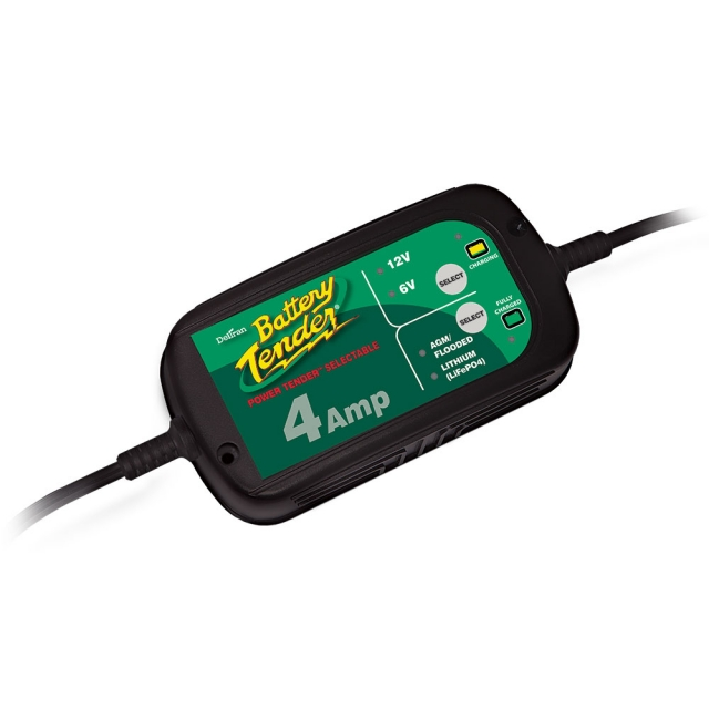 Battery Tender Power Tender 022-0209-DL-WH. 6 & 12 - 4 Amp Battery Charger/Maintainer for Lead Acid and Lithium Batteries