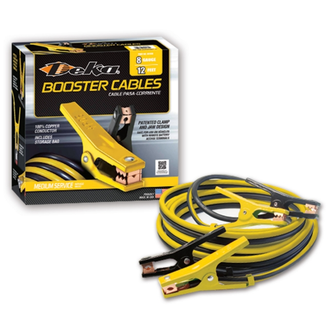 Deka Medium Duty Booster Cables, 8 Gauge 12'