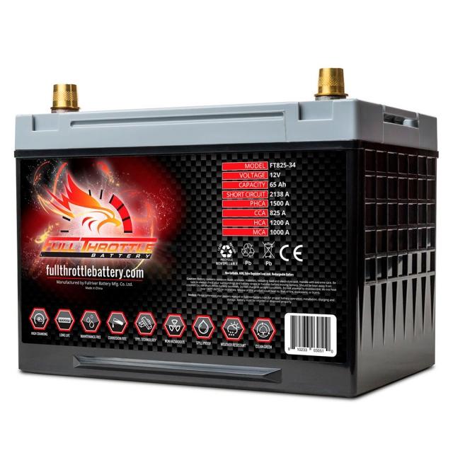 Fullriver Full Throttle FT825 AGM Battery, Group Size 34