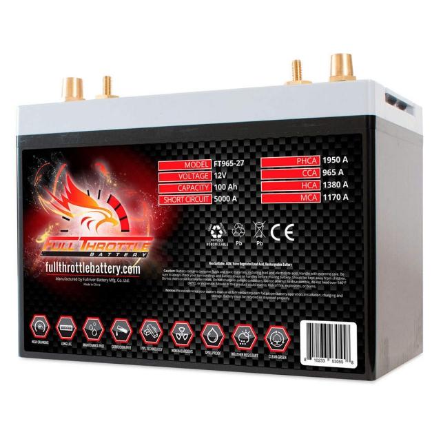 Fullriver Full Throttle FT965 AGM Battery, Group Size 27