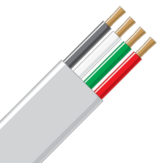 Jacketed Wire - 4 Conductor 10 Gauge White, Black, Green & Red