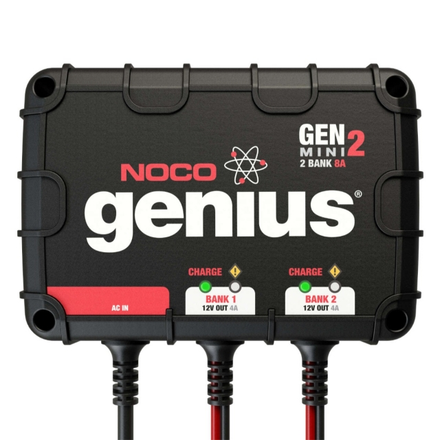 NOCO Genius GENM2, GEN2 Mini, 2-bank on-board boat and marine battery charger.