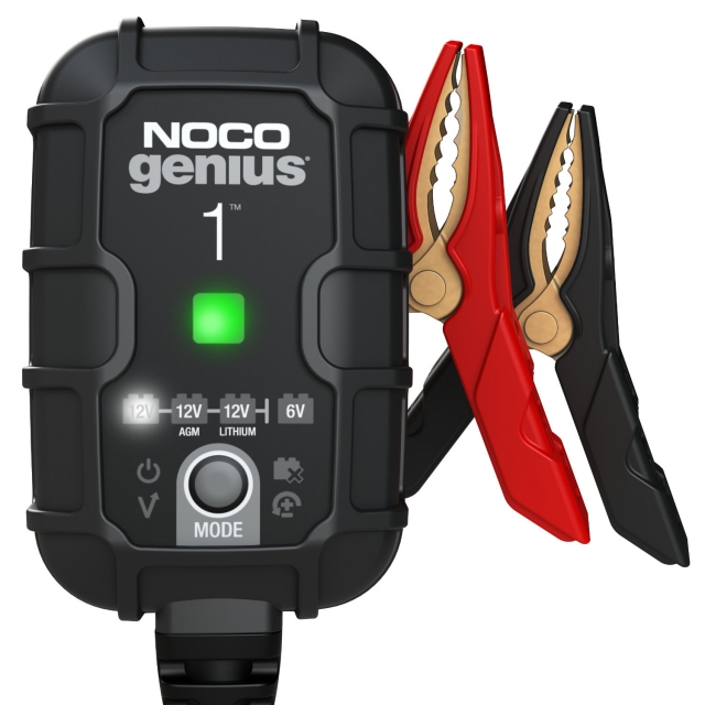 NOCO Genius GENIUS1 battery charger and maintainer for 6 and 12 volt batteries.