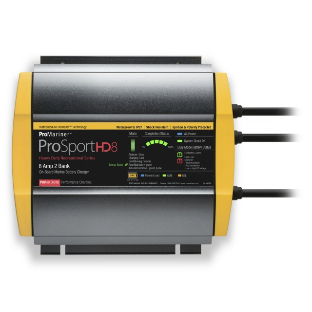 ProMariner ProSport HD 8 - 44008 On-Board Waterproof Dual Bank Marine / Boat Battery Charger 12V and 24V 8 Amp Output