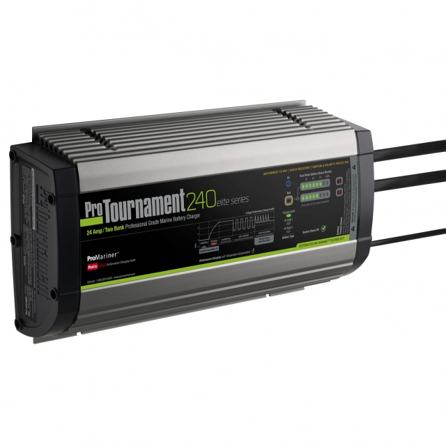 ProMariner ProTournament 240 Elite Series Battery Charger - 12 and 24 volt systems, 24 amps, on-board waterproof.
