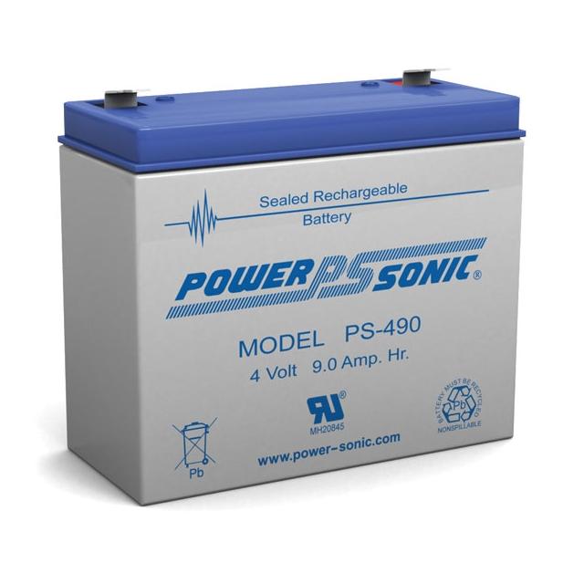 Power Sonic PS-490 - 4 Volt 9 Ah Sealed Lead Acid Battery
