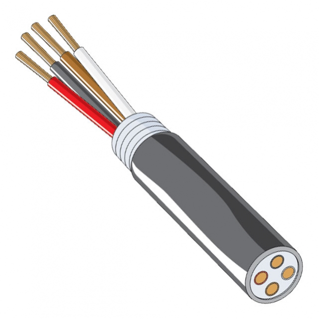 Heavy Duty Trailer Cable - 4 Conductor 14 Gauge Black, White, Brown & Red