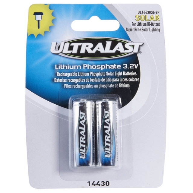 UltraLast UL14430SL-2P LiFePO4 3.2V Rechargeable Batteries, 2 Pack