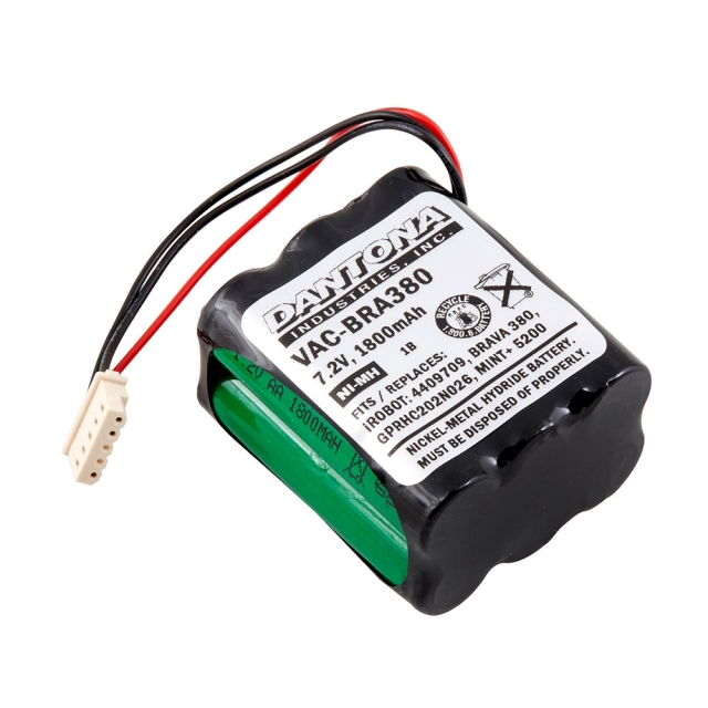 Replacement battery for iRobot Braava 380, Braava 380T, Mint Plus 5200, Mint Plus 5200C cordless robotic vacuum cleaners.